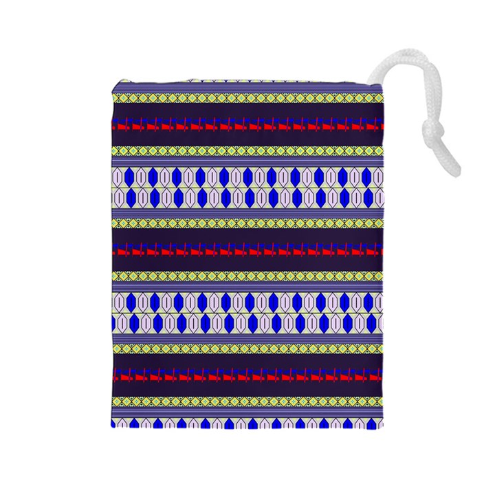 Colorful Retro Geometric Pattern Drawstring Pouches (Large)