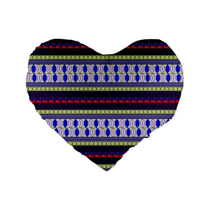 Colorful Retro Geometric Pattern Standard 16  Premium Flano Heart Shape Cushions