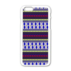 Colorful Retro Geometric Pattern Apple Iphone 6/6s White Enamel Case by DanaeStudio