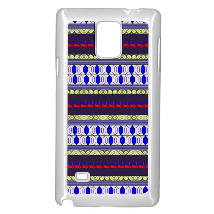 Colorful Retro Geometric Pattern Samsung Galaxy Note 4 Case (White)