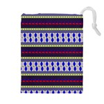 Colorful Retro Geometric Pattern Drawstring Pouches (Extra Large) Front