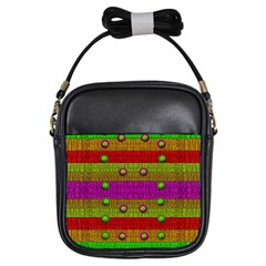 A Wonderful Rainbow And Stars Girls Sling Bags by pepitasart