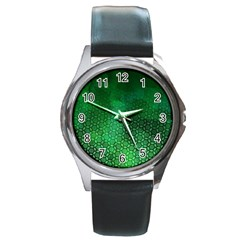 Ombre Green Abstract Forest Round Metal Watch by DanaeStudio