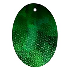 Ombre Green Abstract Forest Ornament (oval)  by DanaeStudio
