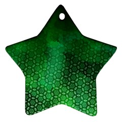 Ombre Green Abstract Forest Ornament (star)  by DanaeStudio