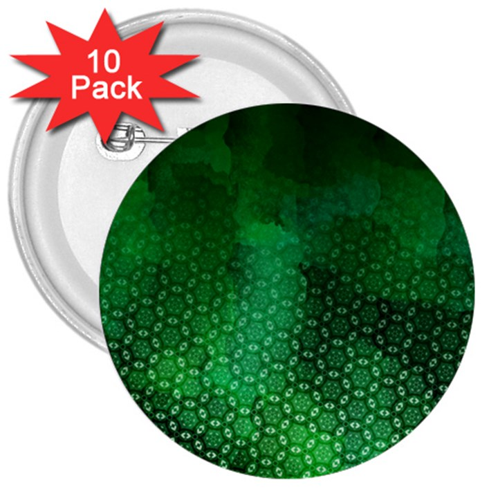 Ombre Green Abstract Forest 3  Buttons (10 pack)