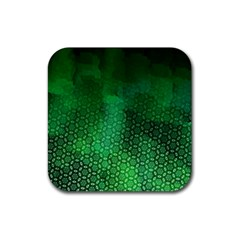 Ombre Green Abstract Forest Rubber Coaster (square)  by DanaeStudio