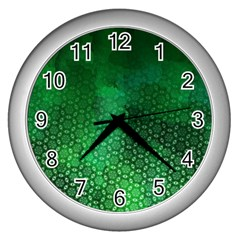Ombre Green Abstract Forest Wall Clocks (silver)