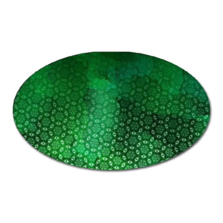 Ombre Green Abstract Forest Oval Magnet