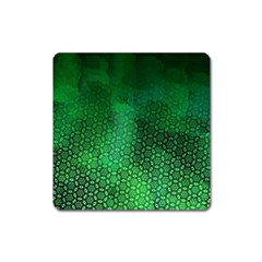 Ombre Green Abstract Forest Square Magnet by DanaeStudio
