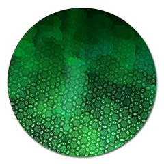 Ombre Green Abstract Forest Magnet 5  (round) by DanaeStudio
