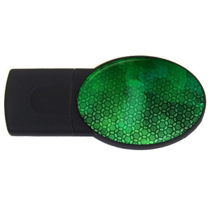 Ombre Green Abstract Forest USB Flash Drive Oval (2 GB)