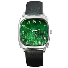 Ombre Green Abstract Forest Square Metal Watch by DanaeStudio