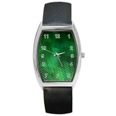 Ombre Green Abstract Forest Barrel Style Metal Watch
