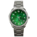 Ombre Green Abstract Forest Sport Metal Watch Front