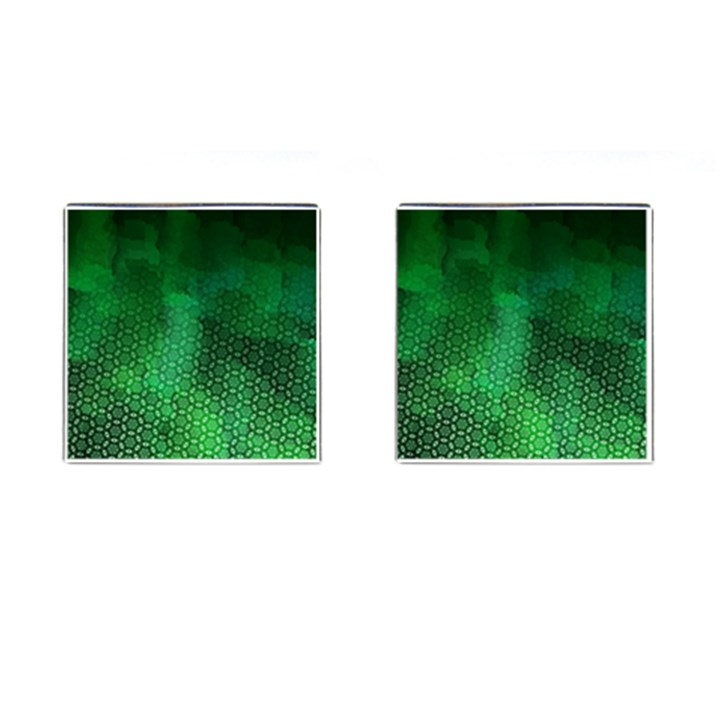 Ombre Green Abstract Forest Cufflinks (Square)