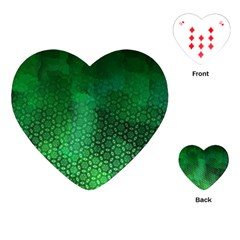 Ombre Green Abstract Forest Playing Cards (heart)  by DanaeStudio