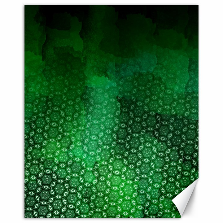 Ombre Green Abstract Forest Canvas 16  x 20