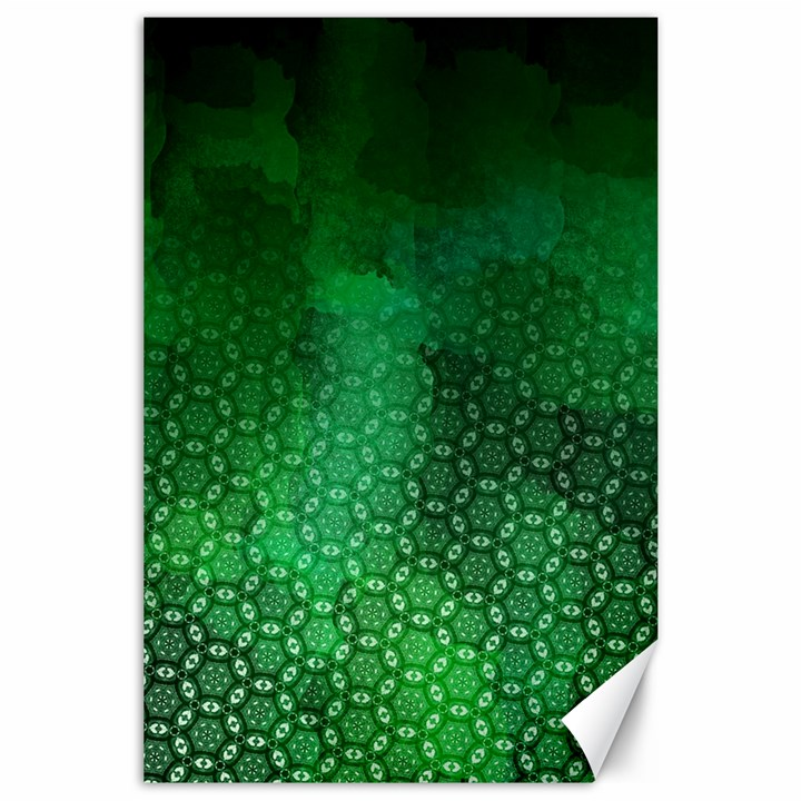 Ombre Green Abstract Forest Canvas 24  x 36