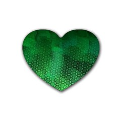 Ombre Green Abstract Forest Rubber Coaster (heart)