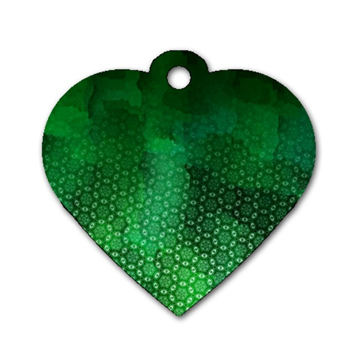 Ombre Green Abstract Forest Dog Tag Heart (One Side)