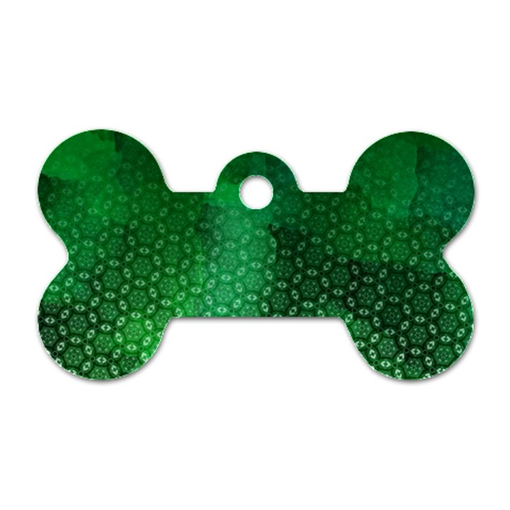 Ombre Green Abstract Forest Dog Tag Bone (One Side)