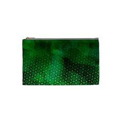 Ombre Green Abstract Forest Cosmetic Bag (small)  by DanaeStudio