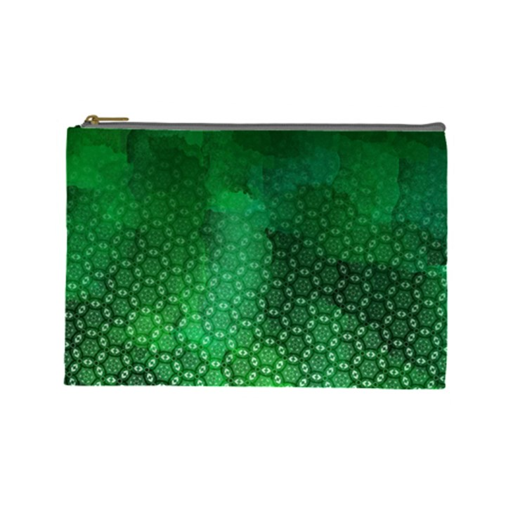 Ombre Green Abstract Forest Cosmetic Bag (Large)