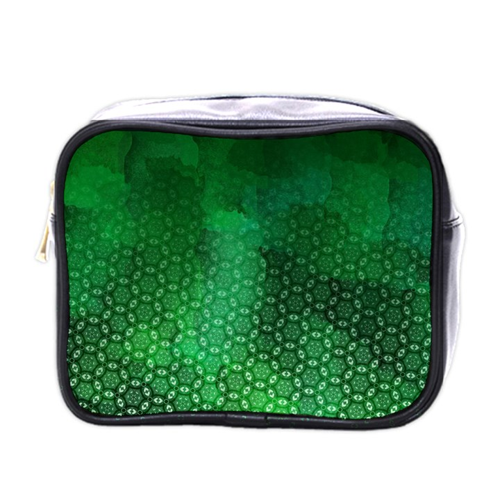 Ombre Green Abstract Forest Mini Toiletries Bags