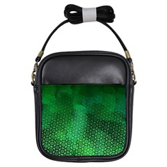 Ombre Green Abstract Forest Girls Sling Bags by DanaeStudio