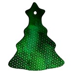 Ombre Green Abstract Forest Christmas Tree Ornament (2 Sides) Back