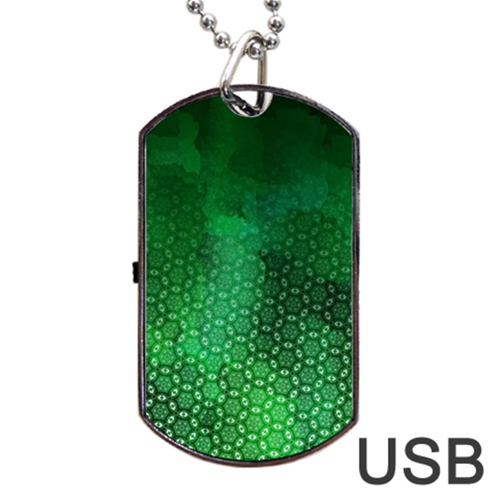 Ombre Green Abstract Forest Dog Tag USB Flash (Two Sides)