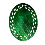 Ombre Green Abstract Forest Ornament (Oval Filigree)  Front