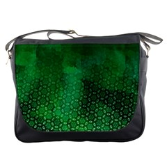 Ombre Green Abstract Forest Messenger Bags by DanaeStudio