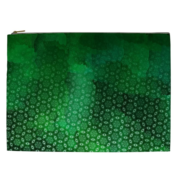 Ombre Green Abstract Forest Cosmetic Bag (XXL)