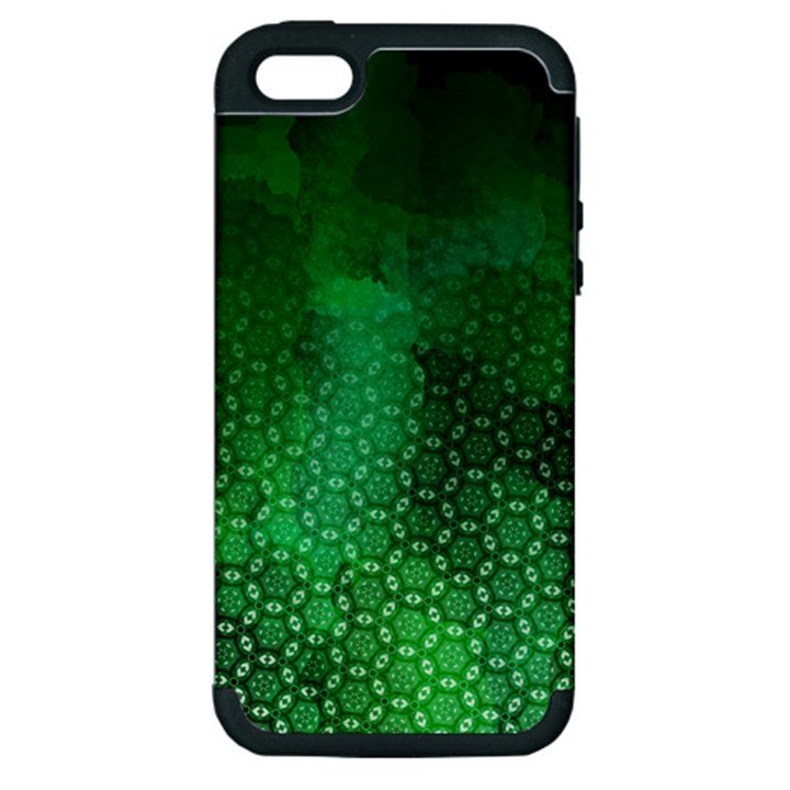 Ombre Green Abstract Forest Apple iPhone 5 Hardshell Case (PC+Silicone)