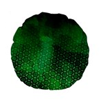 Ombre Green Abstract Forest Standard 15  Premium Round Cushions Back