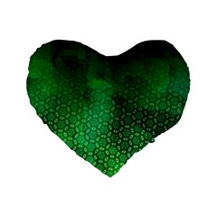 Ombre Green Abstract Forest Standard 16  Premium Heart Shape Cushions by DanaeStudio