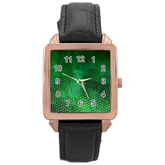 Ombre Green Abstract Forest Rose Gold Leather Watch  by DanaeStudio