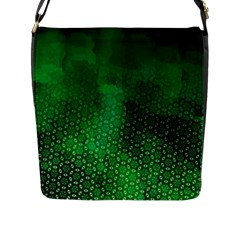Ombre Green Abstract Forest Flap Messenger Bag (l)  by DanaeStudio