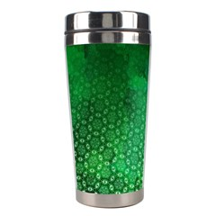 Ombre Green Abstract Forest Stainless Steel Travel Tumblers by DanaeStudio