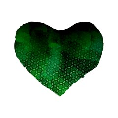 Ombre Green Abstract Forest Standard 16  Premium Flano Heart Shape Cushions by DanaeStudio