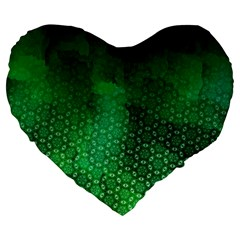 Ombre Green Abstract Forest Large 19  Premium Flano Heart Shape Cushions by DanaeStudio