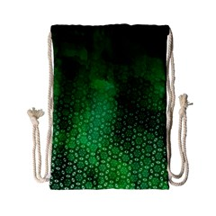 Ombre Green Abstract Forest Drawstring Bag (small) by DanaeStudio