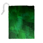 Ombre Green Abstract Forest Drawstring Pouches (Extra Large) Back