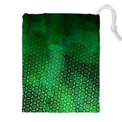 Ombre Green Abstract Forest Drawstring Pouches (xxl) by DanaeStudio