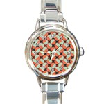 Modernist Geometric Tiles Round Italian Charm Watch Front