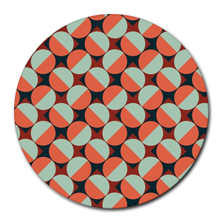 Modernist Geometric Tiles Round Mousepads