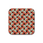 Modernist Geometric Tiles Rubber Coaster (Square)