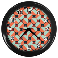 Modernist Geometric Tiles Wall Clocks (black) by DanaeStudio